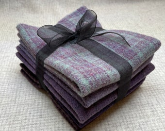 Purpe Passion Ribbon Bundle, Felted Wool for Rug Hooking, Wool Appliqué and Crafts