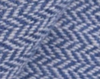Blue and Natural Narrow Herringbone, Felted Wool Fabric for Rug Hooking, Wool Applique and Crafts