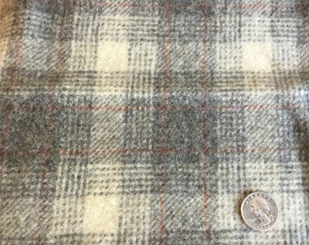 Storm Cloud Plaid, 100% Felted Wool Fabric for Rug Hooking, Wool Applique and Crafts