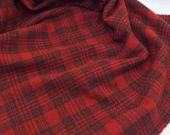 New England Red Plaid, Felted Wool for Rug Hooking, Wool Applique & Crafts