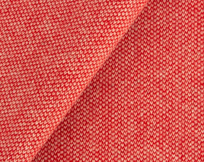 Red and Natural Barley Corn Weave, Felted Wool Fabric for Rug Hooking, Wool Applique and Crafts