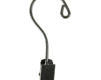 Tree Ornament Hook with Clip, Charcoal Metal, pkg of 3