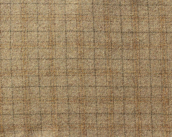Maize Plaid, Felted Wool Fabric for Rug Hooking, Wool Applique and Crafts