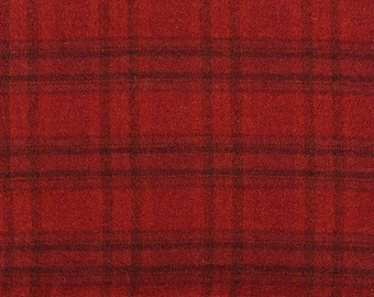 Strawberry Rhubarb Plaid, Felted Wool Fabric for Rug Hooking, Wool Applique and Crafts