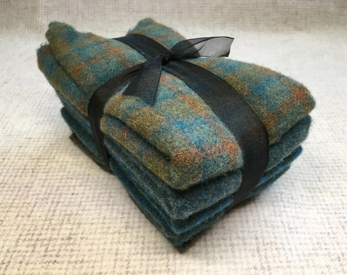 Teal Ribbon Bundle, Felted Wool Fabric for Rug Hooking, Wool Applique and Crafts