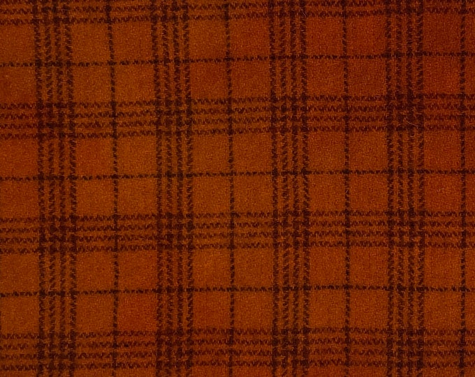 Spiced Pumpkin Plaid, Hand Dyed Fat Quarter, Felted Wool Fabric for Rug Hooking, Wool Applique and Crafts