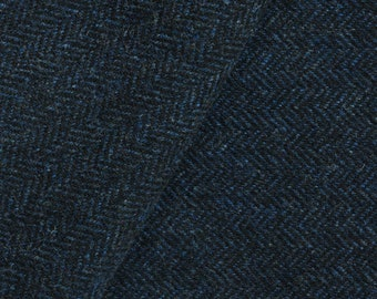 Deep Blue & Black Herringbone, Felted Wool Fabric for Rug Hooking, Wool Applique and Crafts