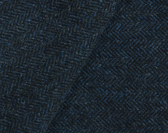 Deep Blue & Black Herringbone, Felted Wool Fabric for Rug Hooking, Wool Applique and Crafts