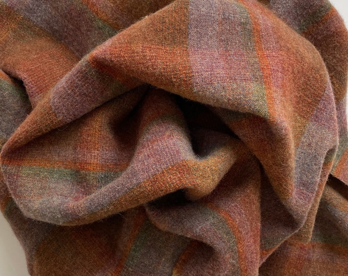 Tiger Lily Plaid, Felted Wool Fabric for Rug Hooking, Wool Applique and Crafts