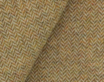 Gold & Natural Narrow Herringbone, Felted Wool Fabric for Rug Hooking, Wool Appliqué and Crafts