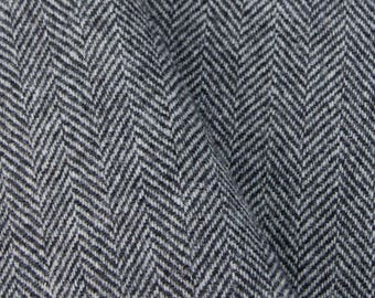 Black and White Herringbone, Felted Wool for Rug Hooking, Wool Applique and Crafts