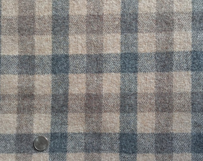 Grey Goose Plaid, Felted Wool Fabric for Rug Hooking, Wool Applique and Crafts