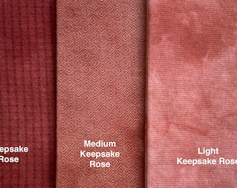 Keepsake Rose, Hand Dyed Fat Quarters, Felted Wool Fabric for Rug Hooking, Wool Applique and Crafts