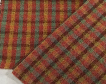 Santa Fe Check, 100% Felted Wool Fabric for Rug Hooking, Wool Applique and Crafts