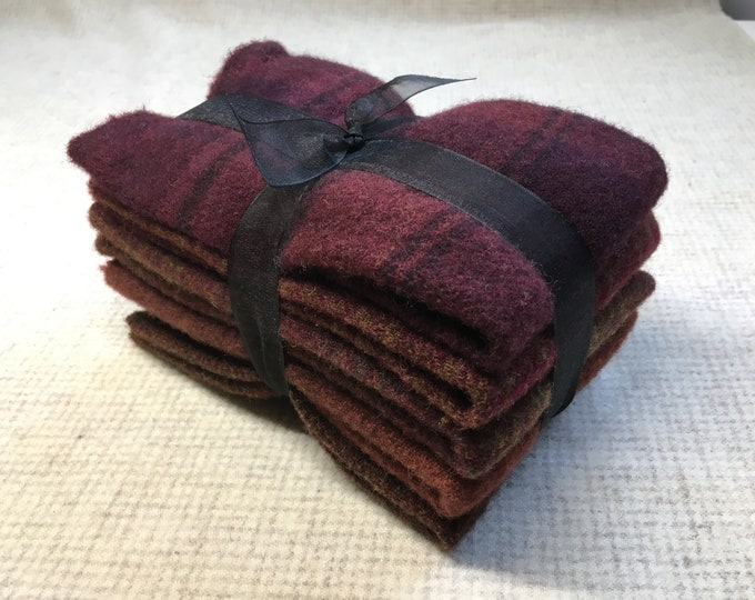 Burgundy Ribbon Bundle, Felted Wool Fabric for Rug Hooking, Wool Applique and Crafts