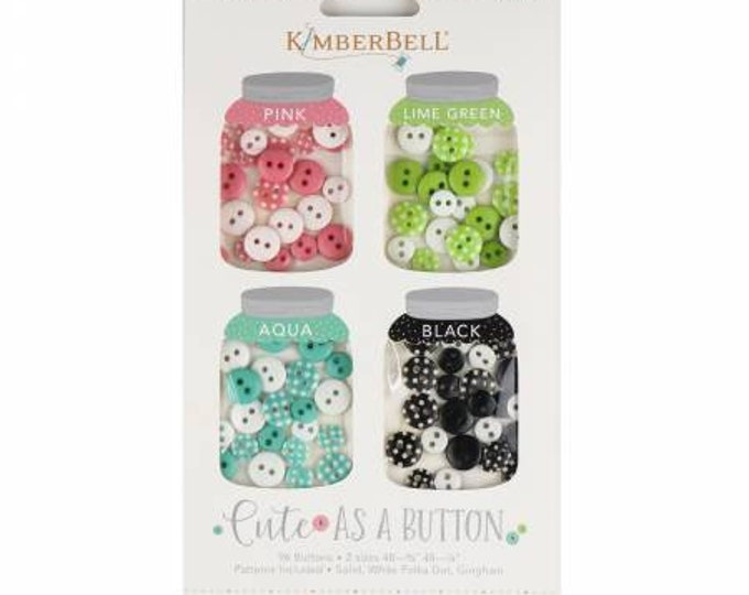 Cute As A Button Pink, Lime Green, Aqua and Black