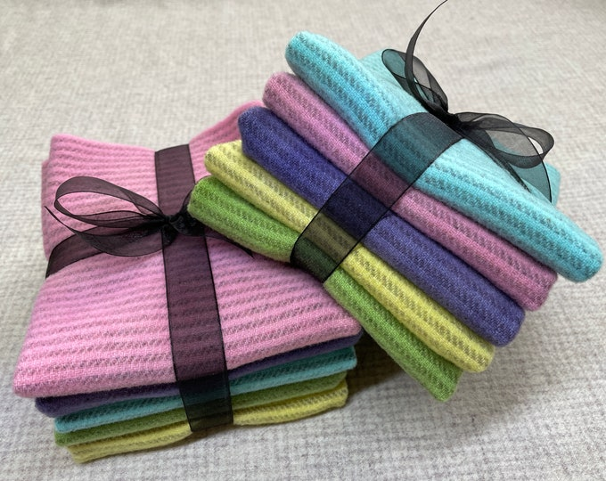 Spring Stripes Ribbon Bundle, Hand Dyed Felted Wool for Rug Hooking, Wool Applique and Crafts