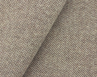 Brown & Cream Narrow Herringbone, Felted Wool Fabric for Rug Hooking, Wool Appliqué and Crafts