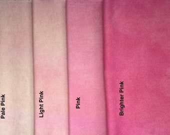 Pinks, Hand Dyed Fat Eighths, Felted Wool Fabric for Rug Hooking, Wool Applique and Crafts