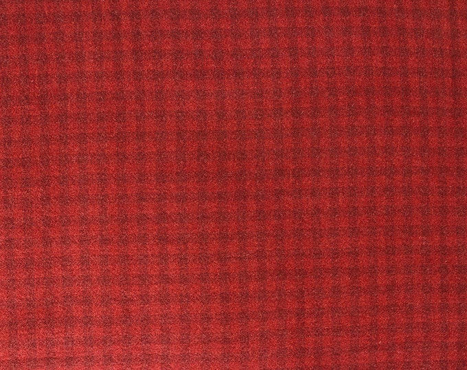 Polly R's Red Check, Felted Wool Fabric for Rug Hooking, Wool Applique & Crafts