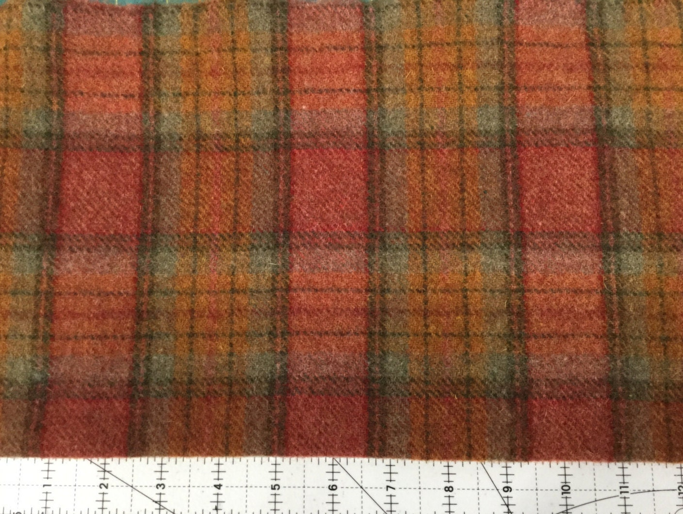 Jolly rancher plaid felted wool fabric for rug hooking wool
