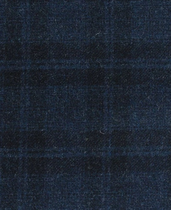 Wool Fabric for Rug Hooking and Applique Navy Blue and White