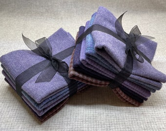 Purple Petals Ribbon Bundle, Felted Wool Fabric for Rug Hooking, Wool Applique and Crafts