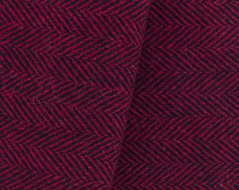 Red and Black Herringbone, Felted Wool Fabric for Rug Hooking, Wool Applique and Crafts