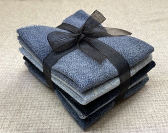 Blue Ribbon Bundle, Felted Wool Fabric for Rug Hooking, Wool Applique and Crafts