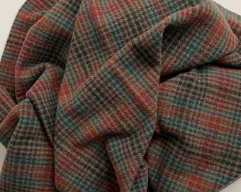 Salamander Plaid, Felted Wool Fabric for Rug Hooking, Wool Applique and Crafts