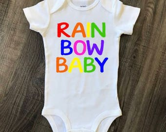 Rainbow baby, rainbow baby onesie, rainbow baby bodysuit, Valentine's Day, Valentine, calm after the storm, new baby, baby shower gift