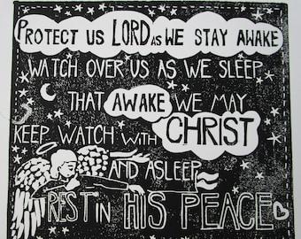 Night Prayer Original Linocut