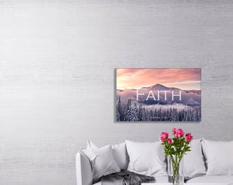 Christian Art Canvas- Faith Can Move Mountains, Matthew 17:20, Faith Art, Bible Verse wall decor, Scripture, Mountains, Encouraging Wall Art