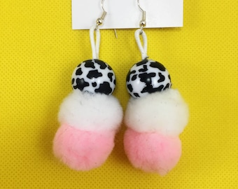 Double Stacked Puff Earrings