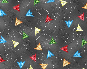 Paper Planes Dark Grey from Wilmington Prints 112cm (w) x 25cm