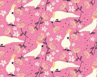 Taking Flight Cockatoos on Bright Pink by Kennard & Kennard Fabrics 112cm (w) x 25cm