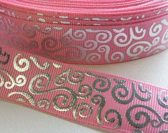 "Pink with Foil Swirls Grosgrain Ribbon 22mm / 7/8"" wide x 1 meters"
