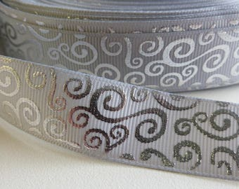 "Grey with Foil Swirls Grosgrain Ribbon 22mm / 7/8"" wide x 1 meters"