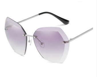 3465f63afa5 Evantikk Vintage Retro Black Sapphire Shade Hexagonal Oversized Ladies  Sunglasses -Designer Hollywood inspired Female Sunglasses Women
