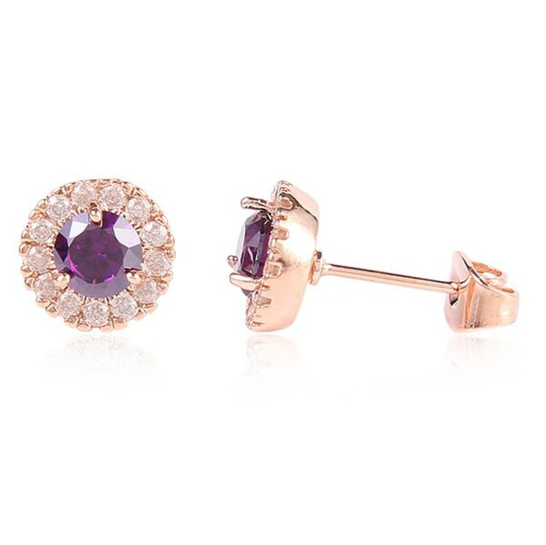 Solest Cluster Halo 18ct Rose Gold Plated Round Purple Amethyst Cubic Zirconia CZ Stud Earrings Wedding-Gift-Jewelry