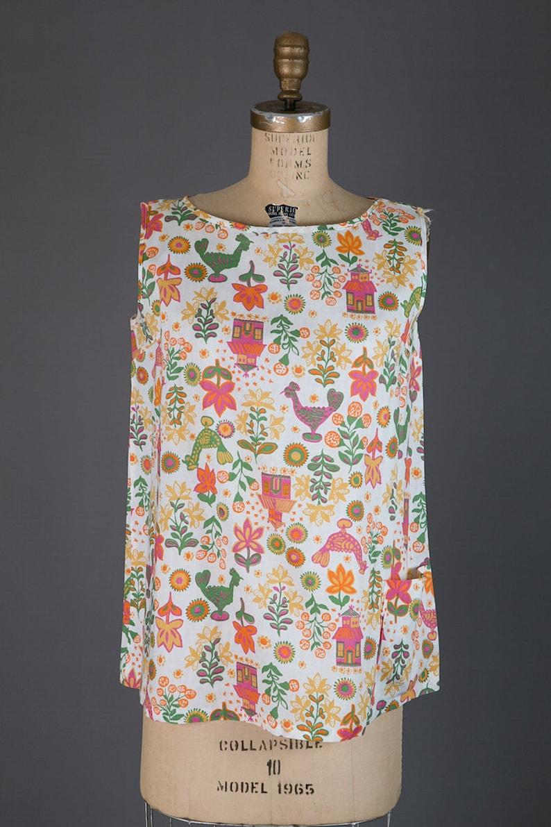 novelty print blouse vintage 1950s maternity top blouse