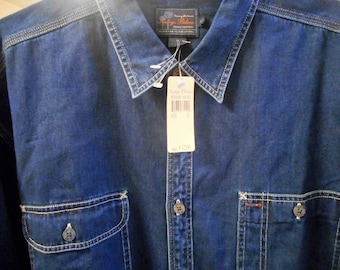 Supper Awsome Vintage Blue Jean Shirt    From The 80's   Size x-large   Made by INDIGO PALMS  Never Worn,   Still With Tags On