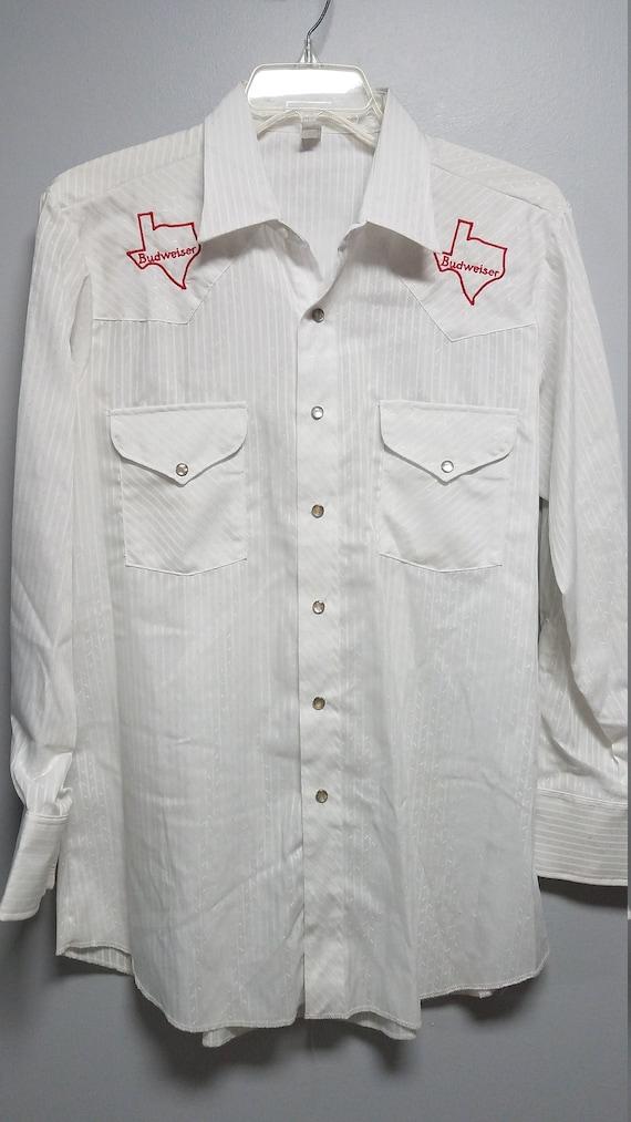 BUDWEISER VINTAGE WESTERN Shirt     Texas      Nev