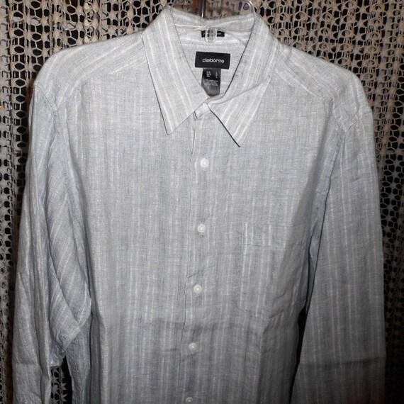 Très jolie chemise Vintage 80 ' s 100 % lin grande taille par CLAIBBORNE jamais porté,