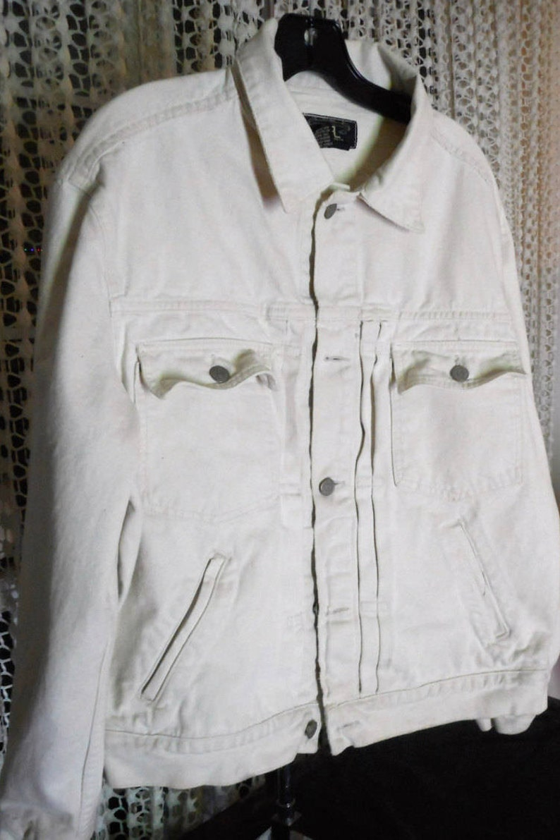 9280588385aee RARE RRL Vintage White Denim Jacket Early 90 s by