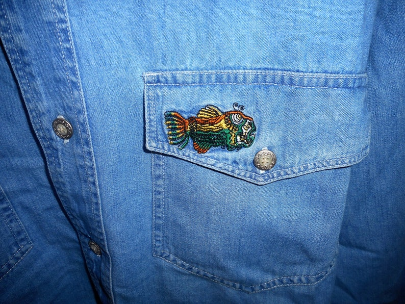 Very Awsome Vintage Blue  Jean Shirt   80/'S     Size Medium    by J.GARCIA of GREATFUL DEAD  Never Worn Still With Tags on it