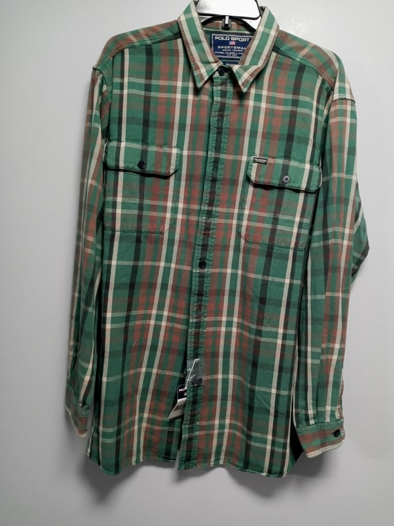 Vintage Mens Classic 80's Long Sleeve flannel Shi… - image 1