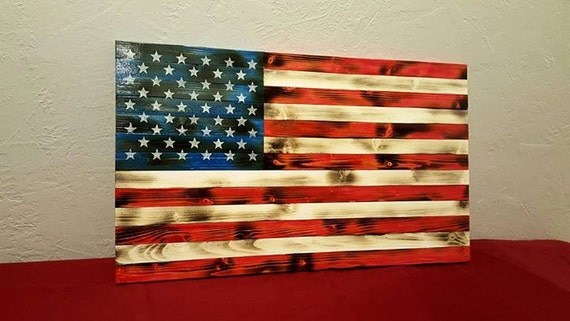 Rustic Wood American Flag Distressed Flag Wood Flag Etsy