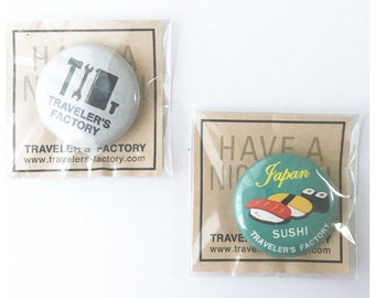 Travelers Factory tin Badges 2 Type Set