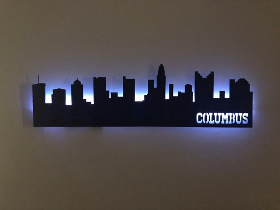 Columbus Ohio Skyline Light Wall Hanging Columbus Gifts Etsy